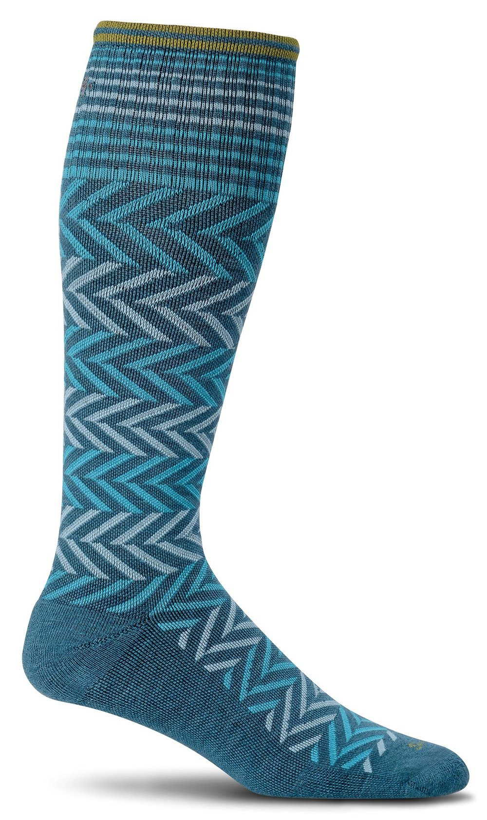 Chevron Knee-High - Teal Moderate Compression (15-20mmHg)