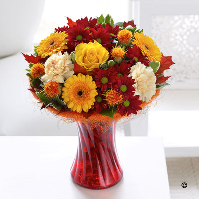 Autumnal Vase Arrangement - Abi's Arrangements Ltd