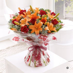 Autumnal Lily and Rose Hand Tied