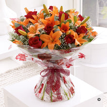 Load image into Gallery viewer, Autumnal Lily and Rose Hand Tied