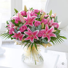 Load image into Gallery viewer, Pink Rose and Lily Hand Tied