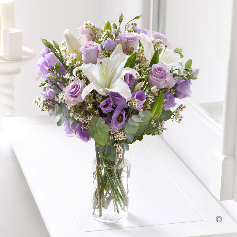 Lilac Rose and Lisianthus Hand Tied
