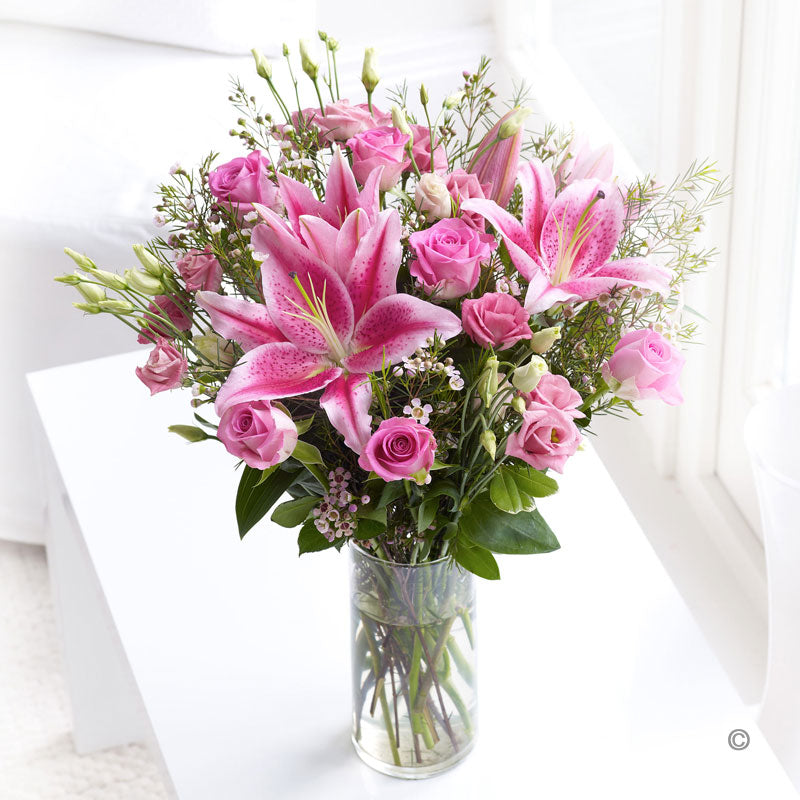 Pink Lily and Lisianthus Hand Tied