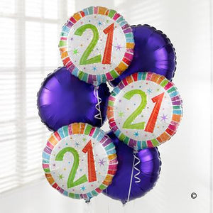 21st Helium Balloon Bouquet