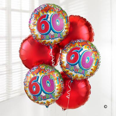 60th Helium Balloon Bouquet