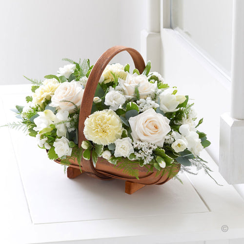 White and Green Basket Arrangement