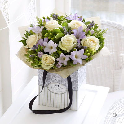 Rose and Lilac Freesia Hand Tied - Abi's Arrangements Ltd