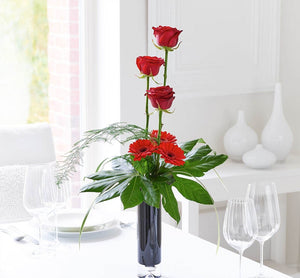 Elegant Red Rose and Gerbera Vase