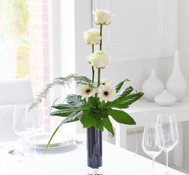Elegant White Rose and Gerbera Vase
