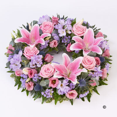 Pink and Lilac Rose & Lily Wreath
