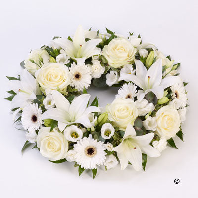 White Rose & Lily Wreath