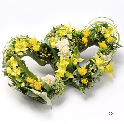 Yellow Double Heart Tribute - Abi's Arrangements Ltd