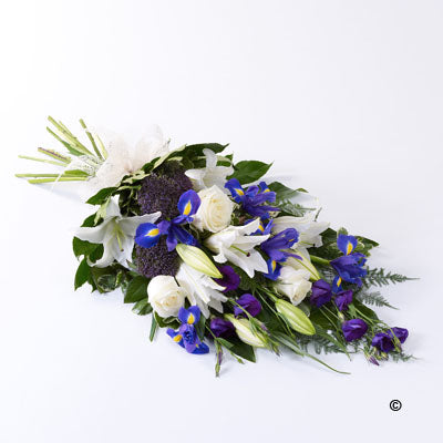 Purple and White Classic Tied Sheaf - Abi's Arrangements Ltd