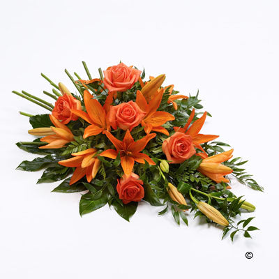 Orange Rose and Lily Teardrop Spray