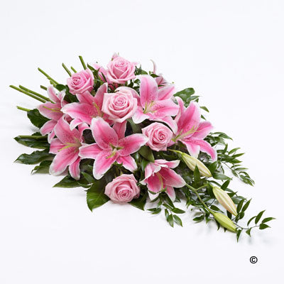Pink Rose and Lily Teardrop Spray - Abi's Arrangements Ltd