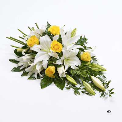 Yellow Rose and White Lily Teardrop Spray