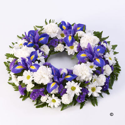 Blue and White Classic Wreath Tribute - Abi's Arrangements Ltd