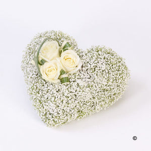 Gypsophila and Rose Heart Tribute