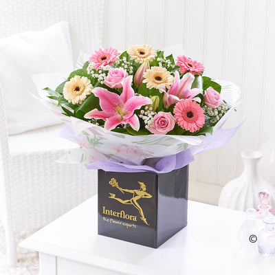 Pink Rose, Lily and Germini Hand Tied - Abi's Arrangements Ltd