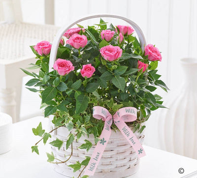 Mother's Day Pink Rose Basket - Abi's Arrangements Ltd