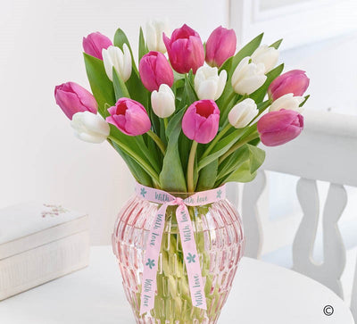 Pretty Pink Tulip Vase - Abi's Arrangements Ltd