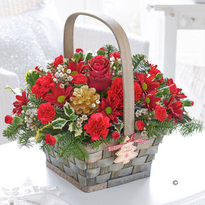 Festive Joy Basket Arrangement - Abi's Arrangements Ltd