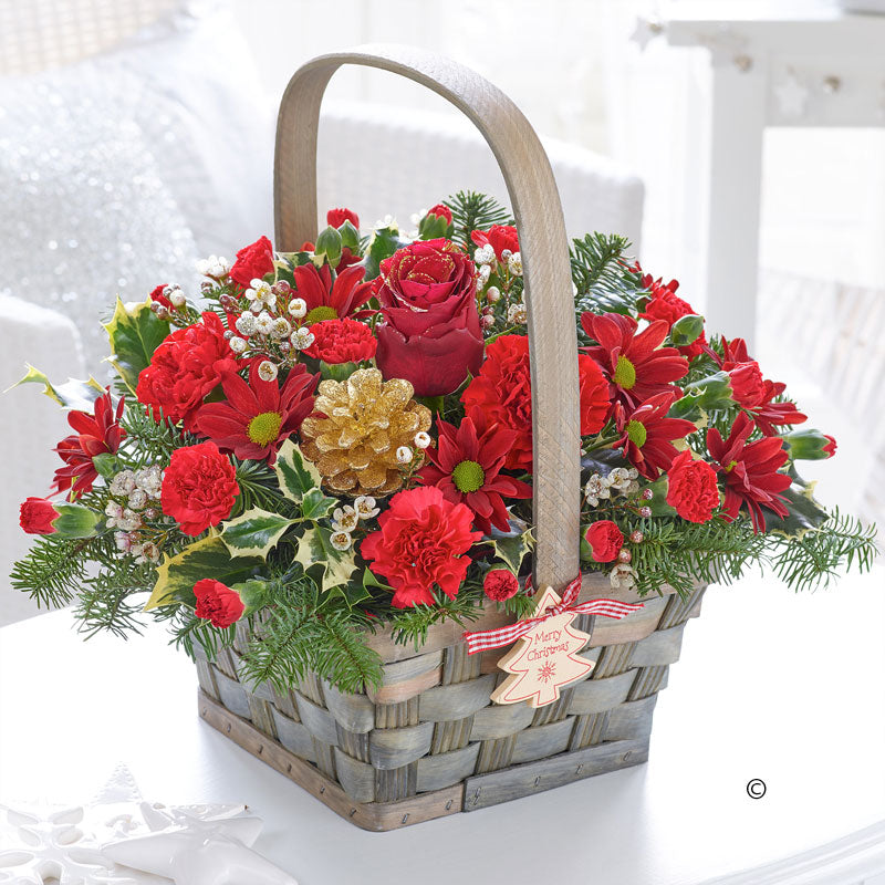 Festive Joy Basket Arrangement