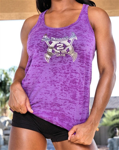 Ladies Burnout Tank Metallic Distressed Logo