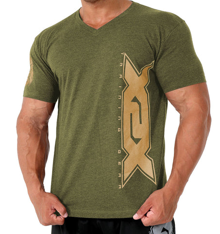 Army Green Vertical V-Neck
