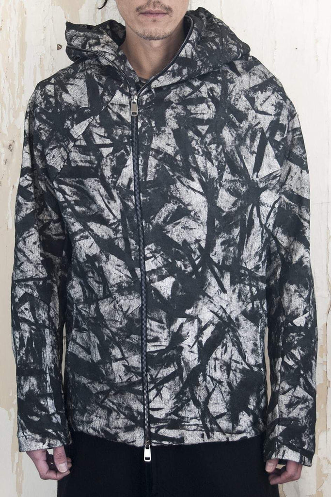 3D Loop Zip Up Hoodie Camouflage Hand Painted Black - lumenetumbra