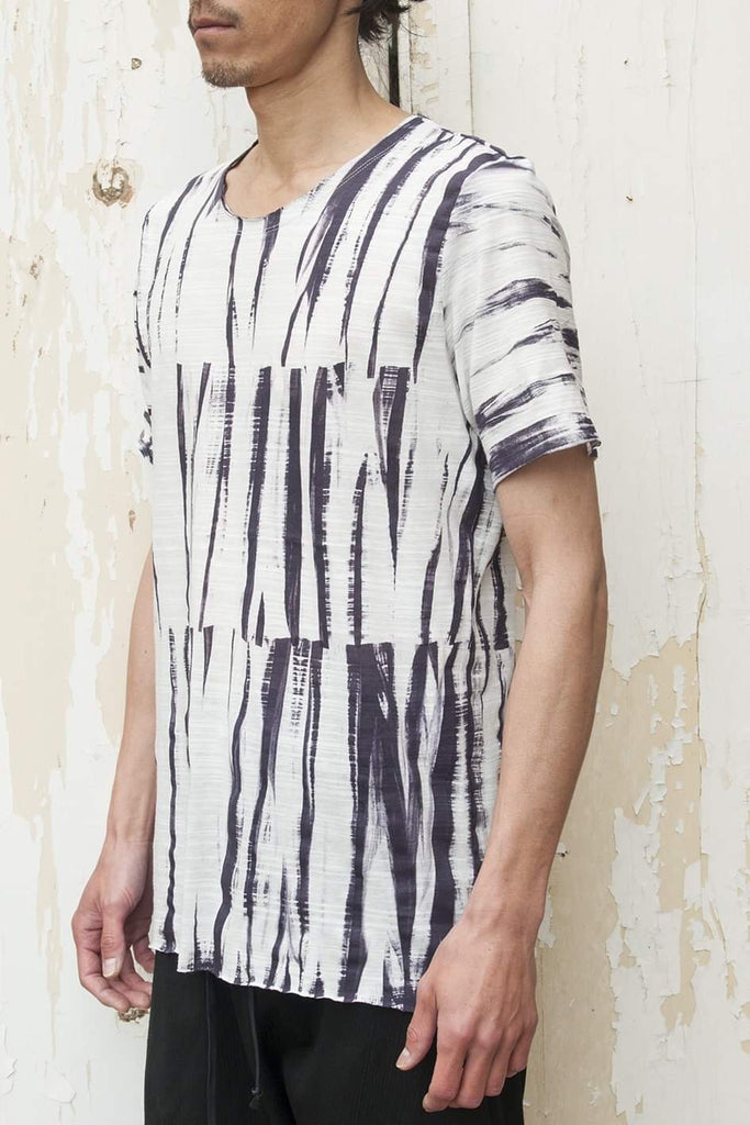 Hand Painted Vertical Stripes Short Sleeve T-shirt - lumenetumbra