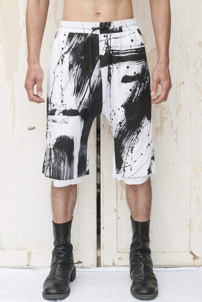 Double Layer Drawstring Shorts Painted by Richard Blackstar - lumenetumbra