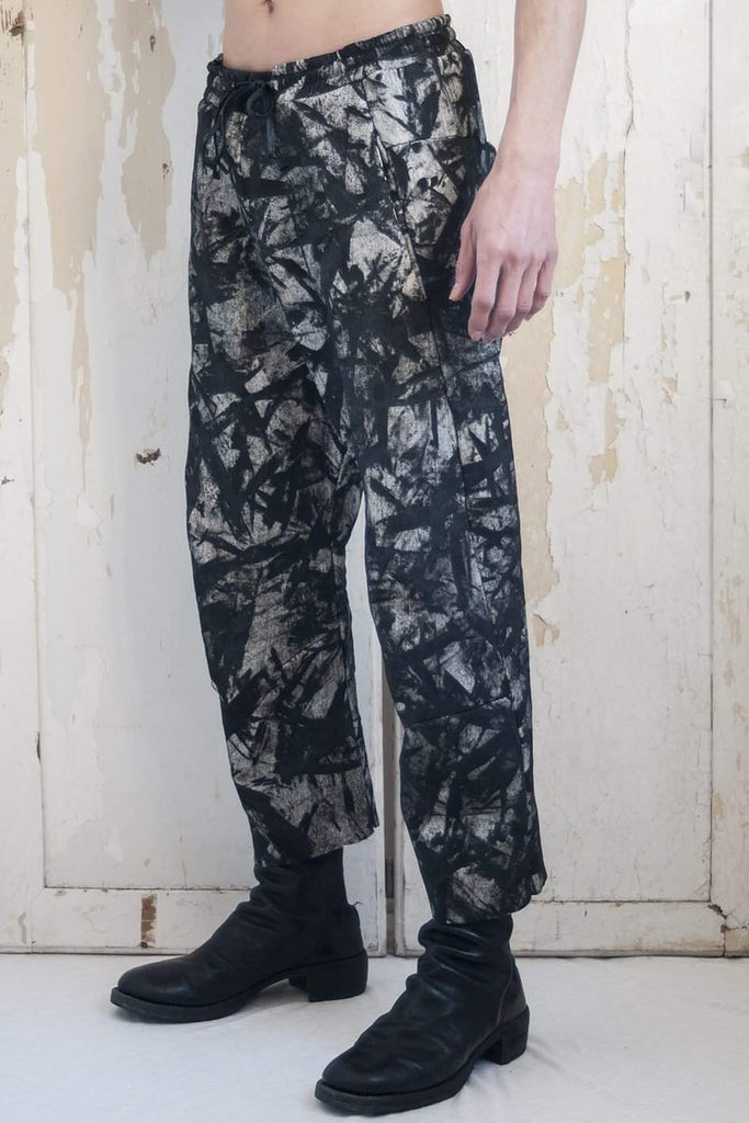 Drawstring Curve Trousers Camouflage Hand Painted Black - lumenetumbra