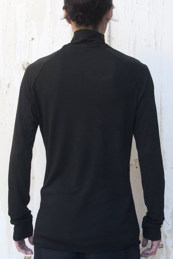 High Neck Light Wool Jersey T-shirt - lumenetumbra