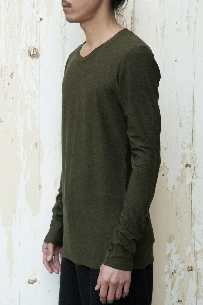 Crew Neck Long Sleeves Light Wool  T-shirt - lumenetumbra