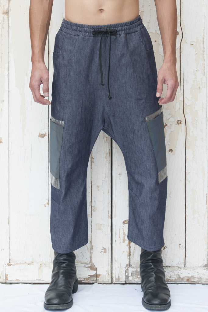 Drawstring Denim Double Layer Pocket Trousers