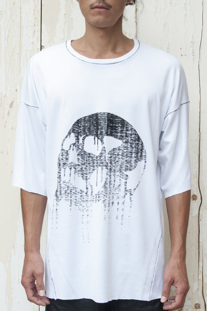 Calligram Skull - Birth Print Loose Fitting T-shirt