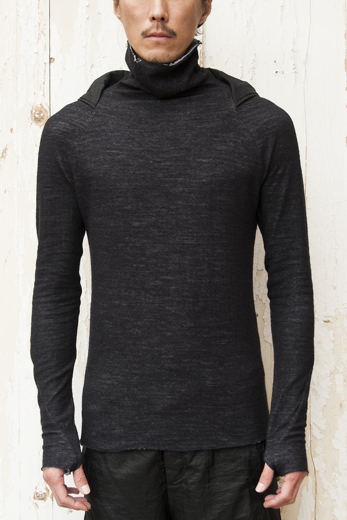 High Neck Hood Pullover T-shirt