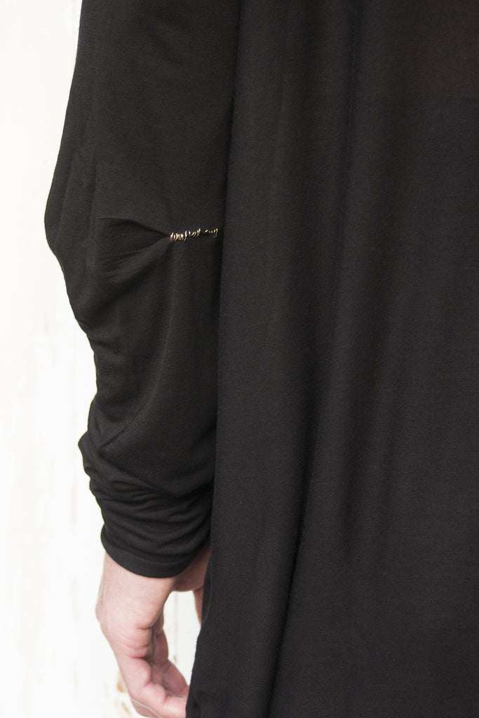 Pleats Long Sleeve Hand Stitched Gold Thread