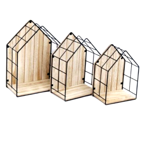Set Of 3 House Shaped Wall Shelves