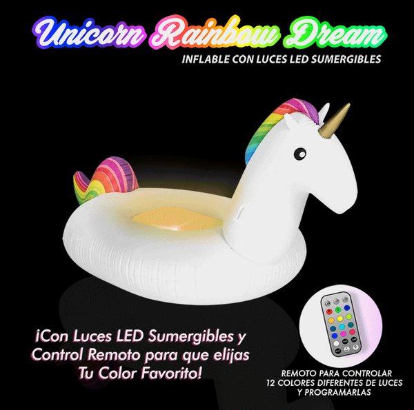 Inflable de unicornio con luces led y control remoto