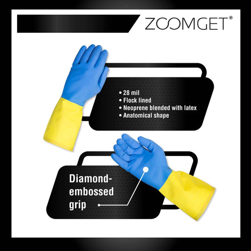 Zoomget Blue Neoprene Latex Flock-Lined Diamond Grip Work Gloves Bag12