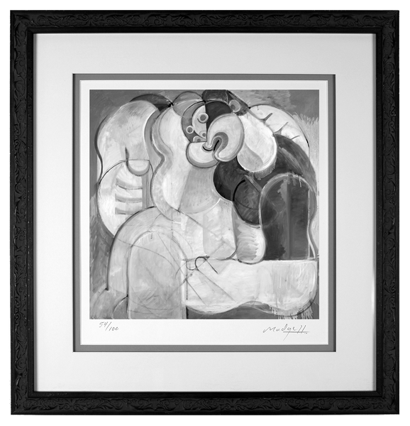 Lovers III limited edtion print in custom traditional style wood frame
