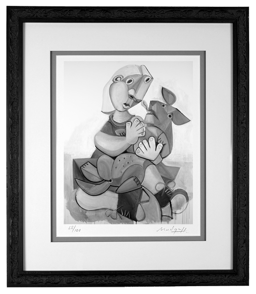 Woman and Dog Limited Edition in custom traditional style wood frame