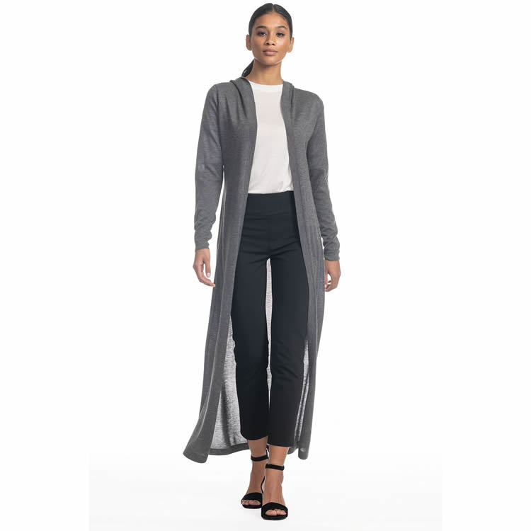 One model wearing a ladies 100% cashmere long, hooded cardigan sweater in charcoal on a white background.