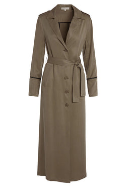 A ladies lightweight trench coat in army on a white background.