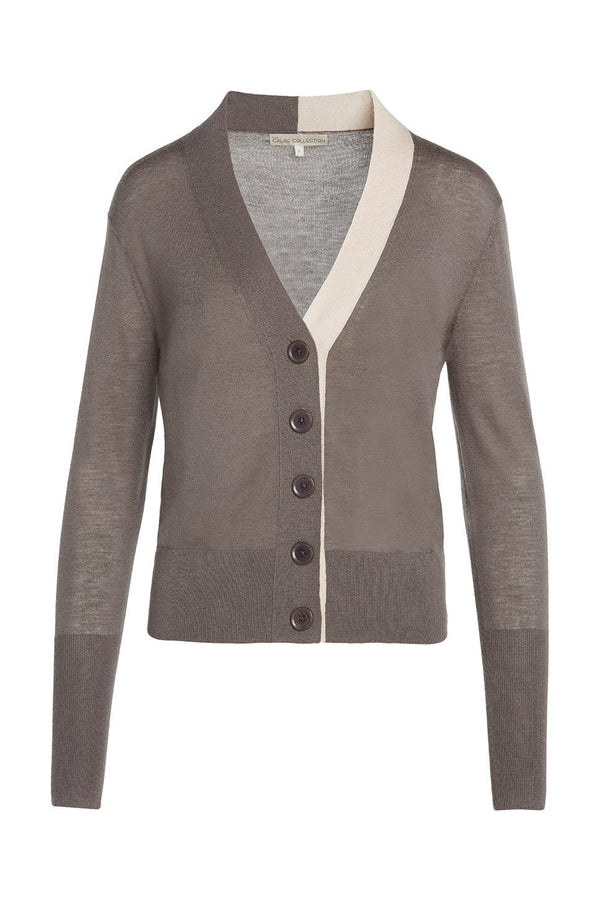 A ladies 100% cashmere v-neck cardigan in ash on a white background.