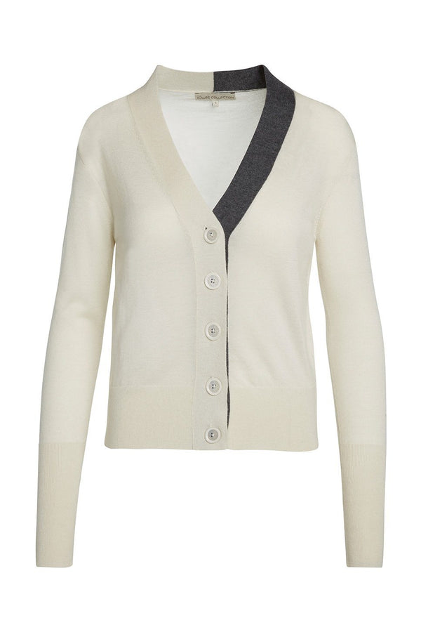 A ladies 100% cashmere v-neck cardigan in ivory on a white background.