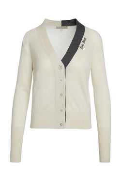"A ladies embroidered ""live love"" 100% cashmere v-neck cardigan in ivory on a white background."
