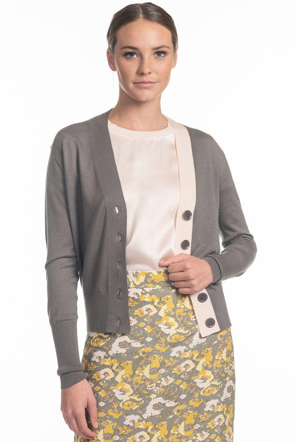 One model wearing a ladies 100% cashmere v-neck cardigan in ash on a white background.